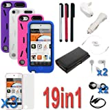 GTMax 19 Items Essential Accessories Bundle kit for Apple iPod Touch 5th Generation-4 Pack of Dual Layer Hybrid KickStand Case Cover included