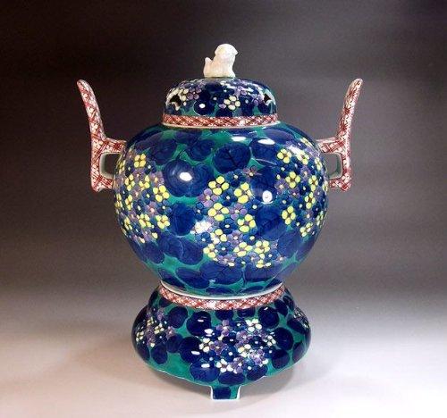 有田焼伊万里焼の陶器高級香炉|贈答品|ギフト|記念品|贈り物|紫陽花絵陶芸家 藤井錦彩 B00JJ8UNGA