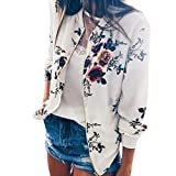 Spbamboo Womens Jacket Ladies Floral Retro Zipper Up Bomber Casual Coat Outwear