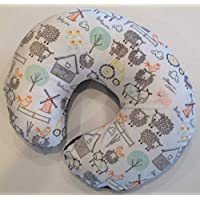 Minky Nursing Pillow Cover. EIEIO Farm Animal Cuddle. You choose the Dimple Dot back. Back is pictured in Charcoal Dimple Dot.