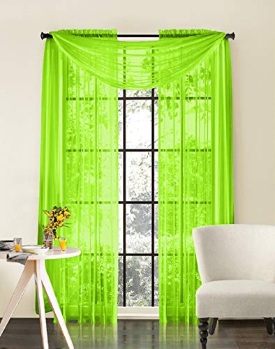 HLC.ME Lime Green Sheer Voile Window Treatment Rod Pocket Curtain Panels for Bedroom and Living Room (54 x 84 inches Long, Set of 2) (Curtain Lime Green Panels)