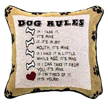 Manual Dog Rules Pillow, 12-1 2-Inch Square