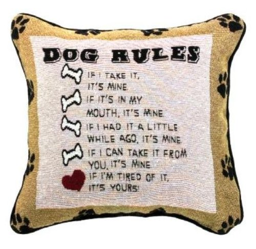 amazoncom manual dog rules pillow 1212inch square home u0026 kitchen