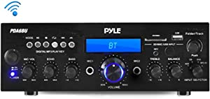 Pyle PDA6BU.5 Compact Bluetooth Stereo Amplifier - Desktop Audio Power Amp Receiver with FM Radio, MP3/USB/SD Readers, Digital LCD Display, Microphone Input (200 Watt), Black (Renewed)
