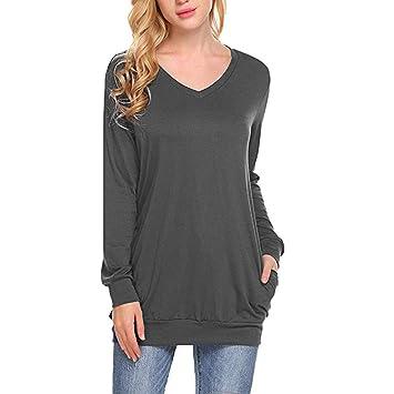 Suéter de manga larga con cuello en V para mujer, suelto, casual ...