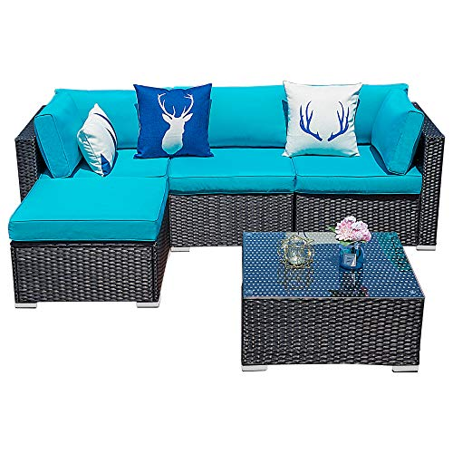 Glowin Outdoor Patio Sectional Sofa-5 Piece Rattan Wicker Furniture Set with Blue Cushion (5 PC)