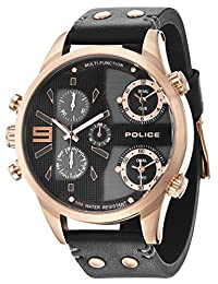 Police Copperhead Men's Wrist Watches, Leather Synthetic Black Band, Black Dial (PL14374JSR/02)