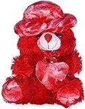 Avs Stuffed Spongy Hugable Cute Cap Teddy Bear - 30 Cm (Red)