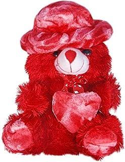 GURUDEV Stuffed Spongy Hugable Cute Cap Teddy Bear 30 Cm Red
