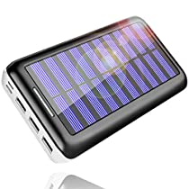 Solar Charger, Kedron 24000mAh Portable Charger Power Bank with Dual Input Port and 3 USB Output External Battery Pack Compatible iPhone, iPad, Samsung Galaxy, Android Phones and Other Devices
