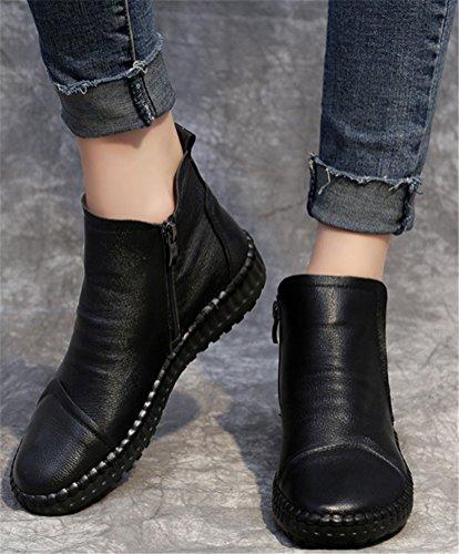 Enkellaars Dames Platte Hak, Casual Handgemaakte Schoenen Leer Winter Sneakers 3 Kleuren Maat 5.5-8 Zwart (wol Gevoerd)