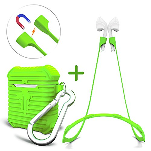 Aopetio Airpods Case, Protective Silicone Skin Cover for Apple Airpods with Magnetic Strings/Strap (Green)