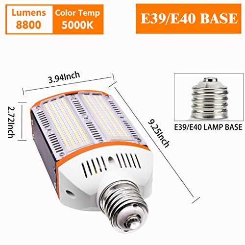 New Sunshine 60W LED Street Light for Outdoor Large Area -E39 8600Lm 4000K Pure White,for Road Lamp Wall Pack Shoebox Cobra Retrofit kit Flood Light Super Bright (60) by New Sunshine (Image #1)