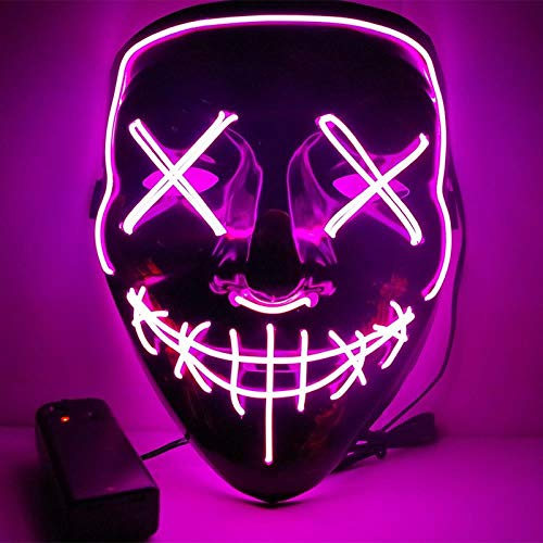LED Mask Halloween Party Mask Masquerade Mask Neon Maske Light Glow in Dark Mascara Horror Maska Glowing Mask Clear, Rose Red -