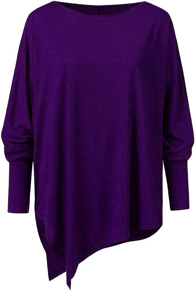 UROSA Fashion Womens Summer Plus Size Solid Irregular Sweatshirt Long Sleeve Loose Print Pullover Basic T-Shirt Tops Blouse