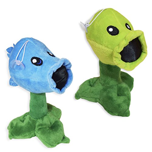 Pvz  Set Of 2   Normal And Ice Peashooter Plants Pea Shooter Cute Soft Plush Toy Doll