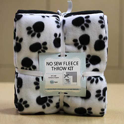 Paw Prints No-Sew Throw Fleece Fabric Kit (72x60)