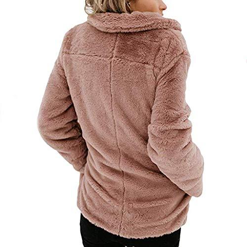 Sodial Fluffy Pêche S Manches Polaire Revers Chaud Lache Veste Longues Dames Mode Poches Tops Manteau Rouge Doux À Femmes Outwear Surdimensionné Casual Kaki rBwC6rq