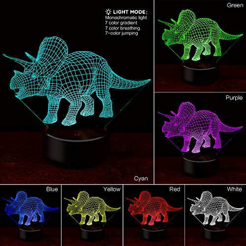 - Euone Light, Dinosaur 3D Night Light Table Bedside Lamp 7 Colors 3D Optical Illusion Lights Gifts for Kids