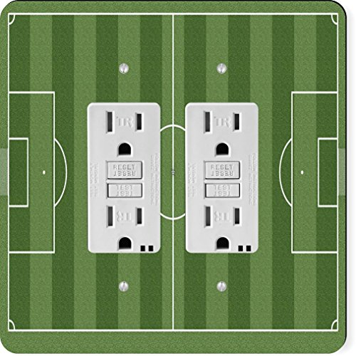 Rikki Knight 9269 Gfidouble Soccer Football Field Aerial View Design Light Switch Plate by Rikki Knight