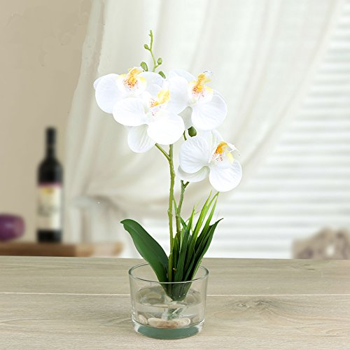 Small Handmade Silk Artificial Flower Arrangements with Vase,Vivid Phalaenopsis Orchid Bonsai,white (Small Flowers Silk White)