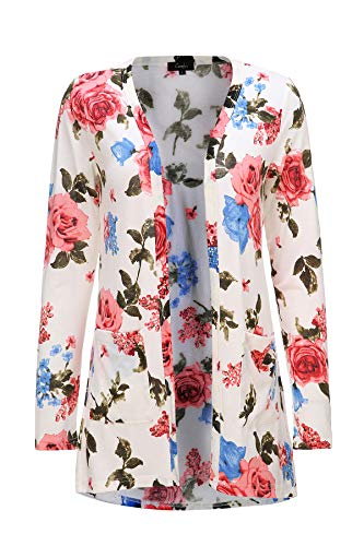 Plus Size Cardigan for Women Floral Light Weight Open Front Cardigan (3X, White with Pink Floral)