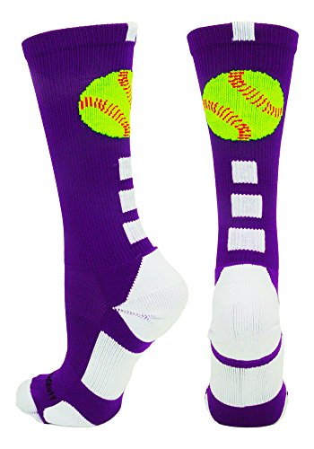 MadSportsStuff Softball Logo Crew Socks (Purple/White, Small)