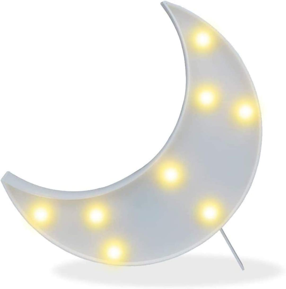 Decorative Crescent Moon Decor Light,Cute LED Nursery Night Lamp Gift-Marquee Moon Sign Wall Decor for Birthday Party,Kids Room, Living Room Decor(White)