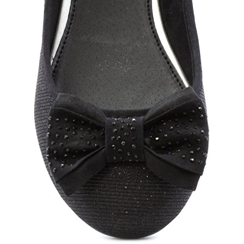 Lilley Mujeres Glittery Bow Ballerina Black