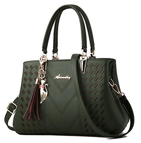 (Seaoeey Women Top Handle Satchel Handbags Shoulder Bag Tote Purse Messenger Bags Amry Green)