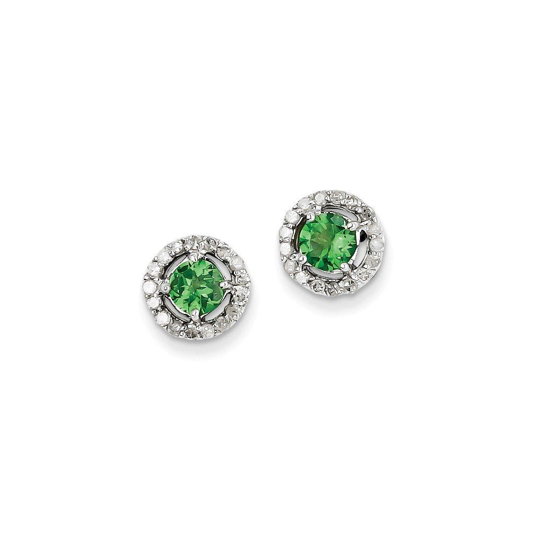 ICE CARATS 925 Sterling Silver Diamond Tsavorite Red Garnet Circle Post Stud Ball Button Earrings Fine Jewelry Gift Set For Women Heart