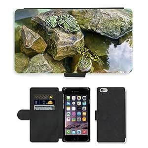 "PU LEATHER case coque housse smartphone Flip bag Cover protection // M00135450 Ranas Reptil agua de estanque Swim Sapo // Apple iPhone 6 4.7"""