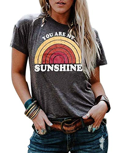You are My Sunshine Shirt Women Summer Short Sleeve Rainbow Graphic Tees Lady Casual Tops T-Shirt]()