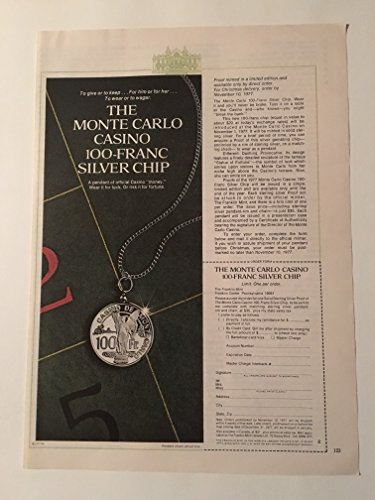 1977 Monte Carlo Casino Chip Necklace Order Form Magazine Print Advertisement