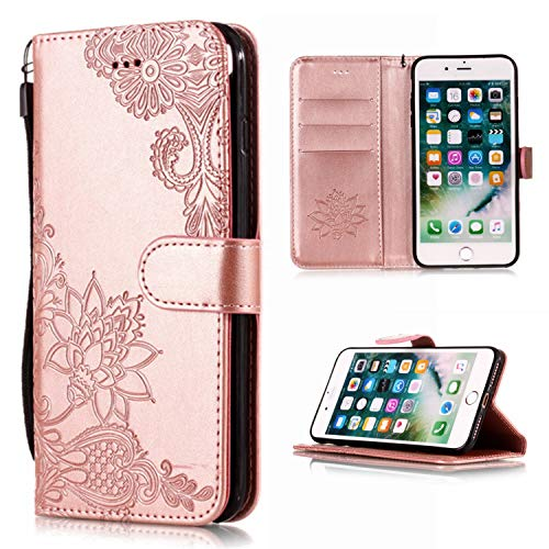 Shinyzone Wallet Case for iPhone 8 Plus,iPhone 7 Plus Case Embossed Henna Mandala Pattern Series,Smart Stand and Magnetic Closure Leather Folio Flip Cover with ID Credit Card Slots-Rose Gold (Executive Case Notebook Plus)