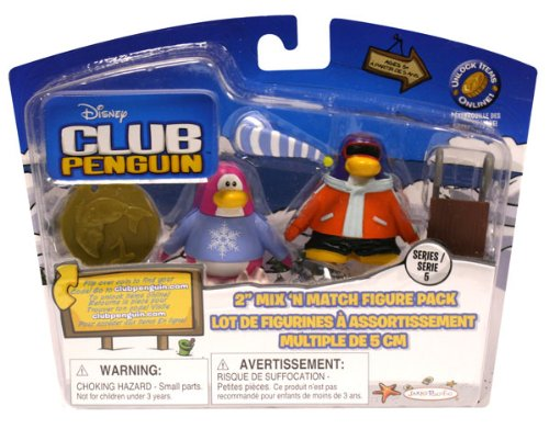 (Disney Club Penguin Series 5 Mix 'N Match Mini Figure Pack Pajama Bunny Slippers & Snowboarder Includes Coin with Code! )