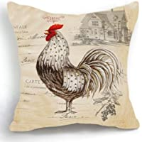 18 x 18 inches Retro Style Beige Chicken Rooster Farm House Home Decor Throw Cushion Cover Pillow Case