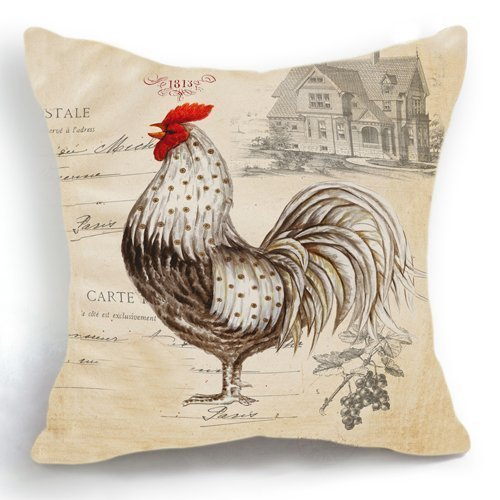18 x 18 inches Retro Style Beige Chicken Rooster Farm House Home Decor Throw Cushion Cover Pillow Case HFBBY Home Decor GY7667