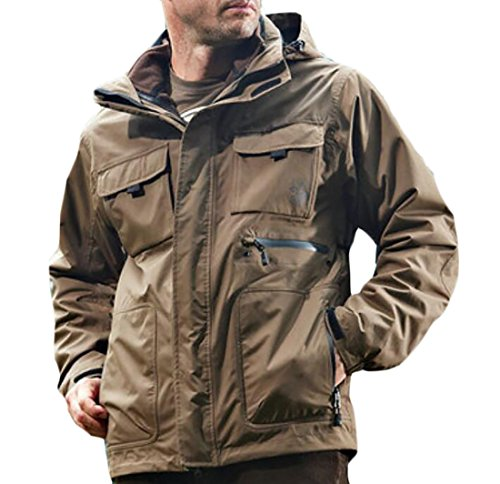 Frieed Mens 3-in-1 Special Ops Military Outdoor Tactical Soft Shell Jacket Coat Khaki 2XL