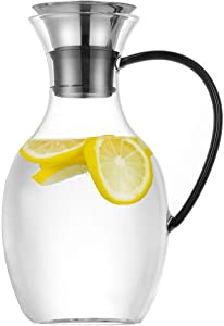 Purefold 50 Ounce Glass Pitcher with Drip-Free Stainless Steel Lid, Hot and Cold Water Carafe, Fruit Tea Coffee Maker, Ice Tea Pitcher, Juice Jar - Black Handle Series