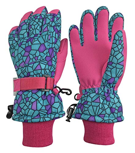 (N'Ice Caps Kids Cold Weather Waterproof Camo Print Thinsulate Ski Gloves (Turq Shattered Glass, 10-12 Years))