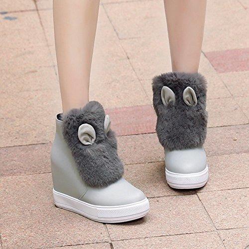 Mee Shoes Damen hidden heels Reißverschluss Pompon Ankle Boots Grau