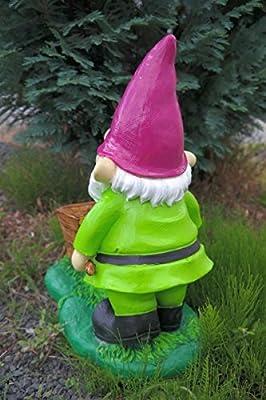 Enano de jardín con carretilla 43 cm verde figura enanito de jardín Top: Amazon.es: Jardín