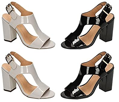 0ea8e42fde Damson Boutique Patent Grey Black High Heel Block T-Bar Strappy Sandal Peep  Toe 3