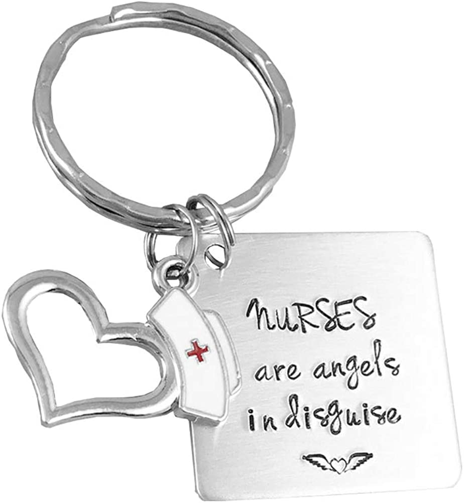 Amosfun Las enfermeras grabadas son Ángeles disfrazados Llavero para los regalos de la enfermera enfermera Llavero personalizado (Plata)