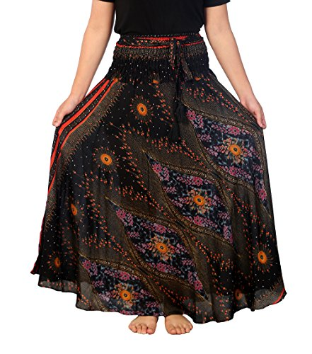 Lannaclothesdesign Women's 40″ Long Maxi Skirt Bohemian Gypsy Hippie Style Clothing