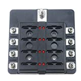 Iztor 8 Way Light Fuse Box Block Screw Terminal Block Fuses Single PE Package Accessories on Cars, Trucks, Motorhomes