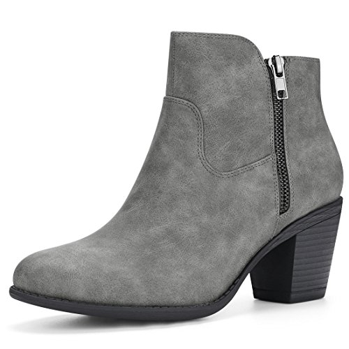 Allegra K Women's Round Toe Chunky Heel Zipper Ankle Boots (Size US 9.5) Grey