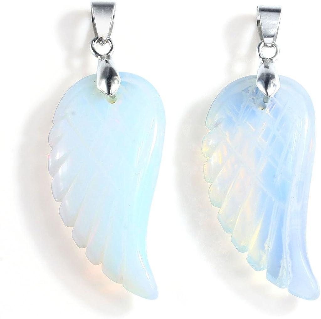 Ciondolo a forma di ala dangelo in unakite con vibrazione