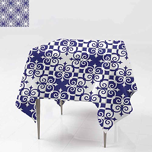 Resistant Table Cover,Gorgeous Seamless Pattern White Blue Moroccan Portuguese Tiles Azulejo Ornaments Can be Used for Wallpaper Pattern Fills we for Square and Round Tables 36x36 Inch b Page Back gr